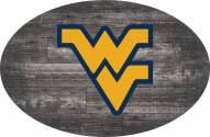 "West Virginia Mountaineers 46"" Distressed Wood Oval Sign"