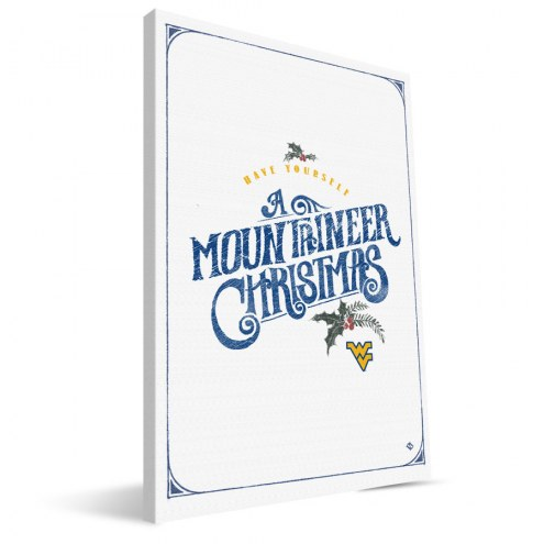 """West Virginia Mountaineers 8"""" x 12"""" Merry Little Christmas Canvas Print"""