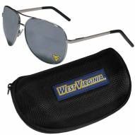 West Virginia Mountaineers Aviator Sunglasses and Zippered Carrying Case