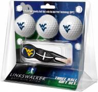 West Virginia Mountaineers Black Crosshair Divot Tool & 3 Golf Ball Gift Pack