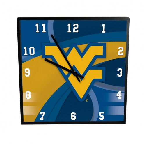 West Virginia Mountaineers Carbon Fiber Square Clock