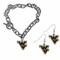 West Virginia Mountaineers Chain Bracelet & Dangle Earring Set