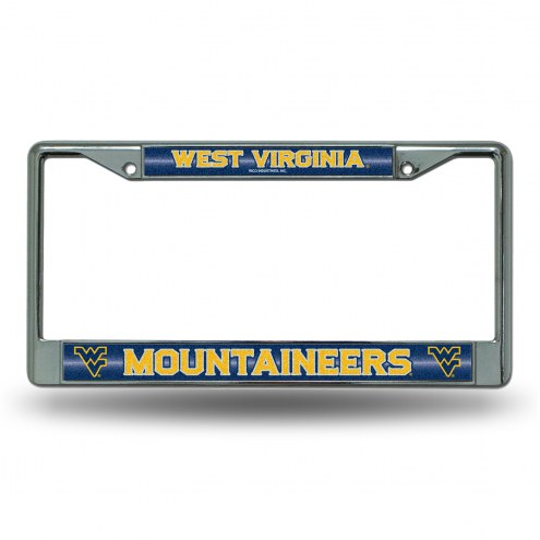 West Virginia Mountaineers Chrome Glitter License Plate Frame