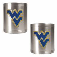 West Virginia Mountaineers College Stainless Steel Can Holder 2-Piece Set