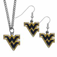 West Virginia Mountaineers Dangle Earrings & Chain Necklace Set