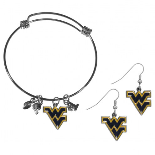West Virginia Mountaineers Dangle Earrings & Charm Bangle Bracelet Set