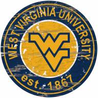 West Virginia Mountaineers Distressed Round Sign