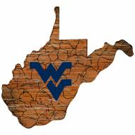 West Virginia Mountaineers Distressed State with Logo Sign