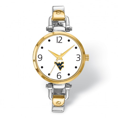 West Virginia Mountaineers Elegant Ladies Two-Tone Watch