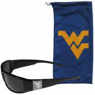 West Virginia Mountaineers Etched Chrome Wrap Sunglasses & Bag
