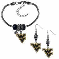 West Virginia Mountaineers Euro Bead Earrings & Bracelet Set