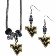 West Virginia Mountaineers Euro Bead Earrings & Necklace Set