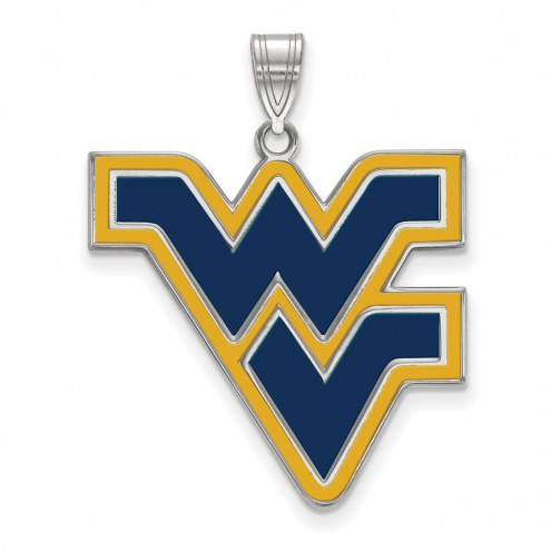 West Virginia Mountaineers Sterling Silver Extra Large Enameled Pendant