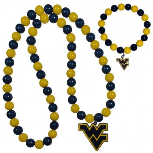West Virginia Mountaineers Fan Bead Necklace & Bracelet Set