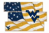 West Virginia Mountaineers Flag 3 Plank Sign