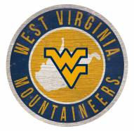 West Virginia Mountaineers Round State Wood Sign