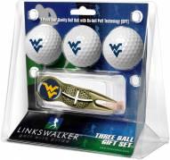 West Virginia Mountaineers Gold Crosshair Divot Tool & 3 Golf Ball Gift Pack