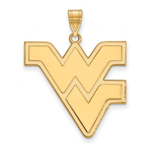 West Virginia Mountaineers Sterling Silver Gold Plated Extra Large Pendant