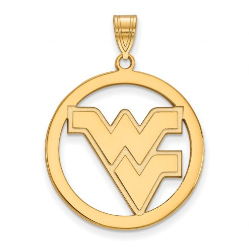 West Virginia Mountaineers Sterling Silver Gold Plated Large Circle Pendant