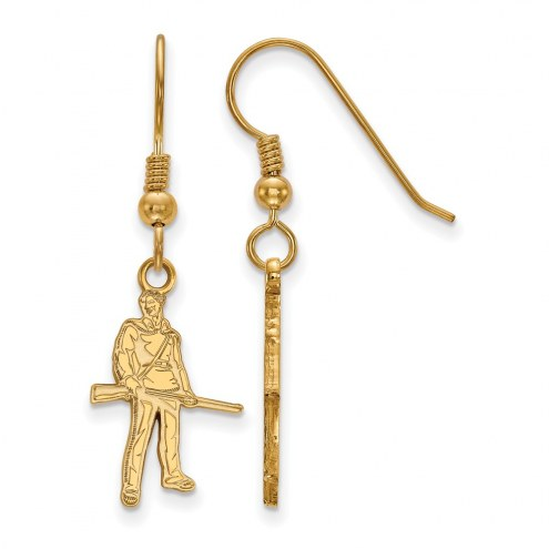 West Virginia Mountaineers Sterling Silver Gold Plated Small Dangle Earrings