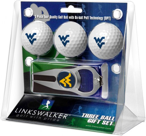 West Virginia Mountaineers Golf Ball Gift Pack with Hat Trick Divot Tool