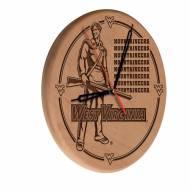 West Virginia Mountaineers Laser Engraved Wood Clock