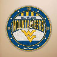 West Virginia Mountaineers NCAA Stained Glass Wall Clock