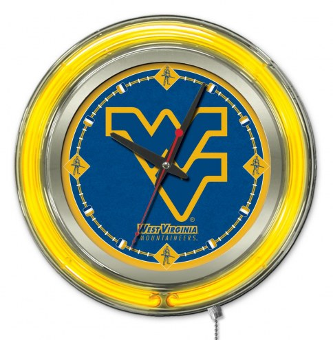West Virginia Mountaineers Neon Clock