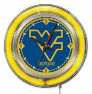 West Virginia Mountaineers Neon Clock