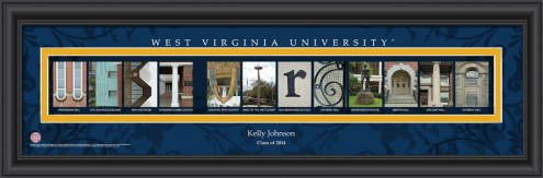West Virginia Mountaineers Personalized Campus Letter Art