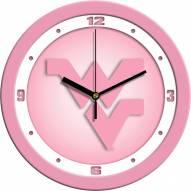 West Virginia Mountaineers Pink Wall Clock