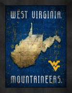 West Virginia Mountaineers Retro Logo Map Framed Print