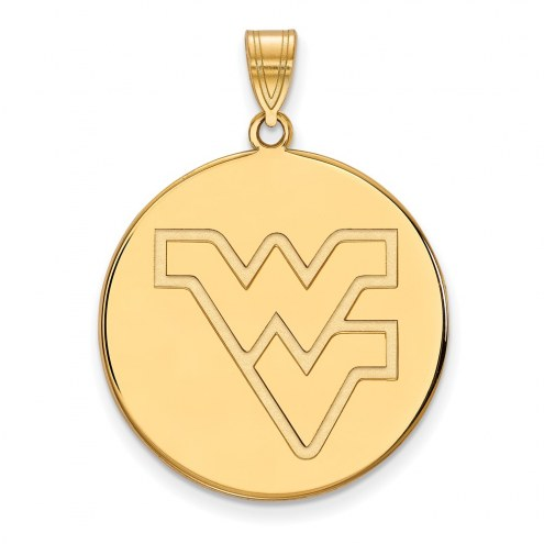 West Virginia Mountaineers Sterling Silver Gold Plated Extra Large Disc Pendant
