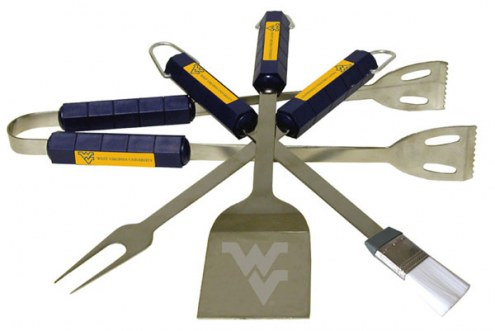 West Virginia Mountaineers NCAA 4-Piece Stainless Steel BBQ Set