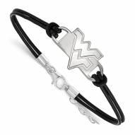 West Virginia Mountaineers Sterling Silver Black Leather Bracelet
