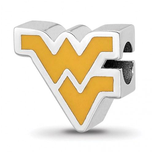 West Virginia Mountaineers Sterling Silver Enameled Bead