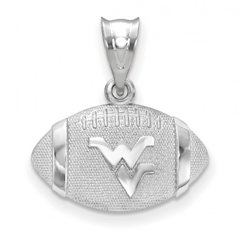 West Virginia Mountaineers Sterling Silver Football with Logo Pendant
