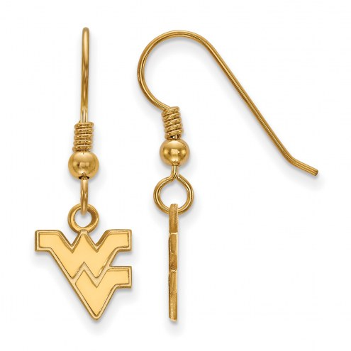 West Virginia Mountaineers Sterling Silver Gold Plated Extra Small Dangle Earrings