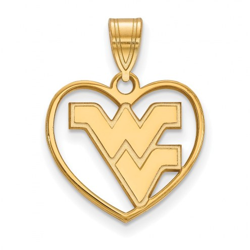 West Virginia Mountaineers Sterling Silver Gold Plated Heart Pendant