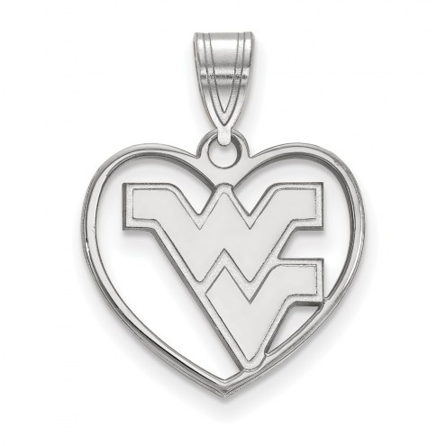 West Virginia Mountaineers Sterling Silver Heart Pendant