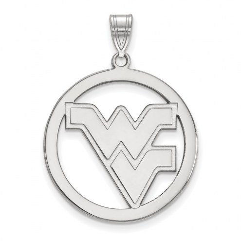 West Virginia Mountaineers Sterling Silver Large Circle Pendant