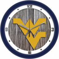 West Virginia Mountaineers Weathered Wood Wall Clock