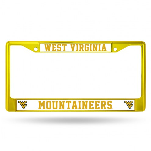 West Virginia Mountaineers Yellow Colored Chrome License Plate Frame