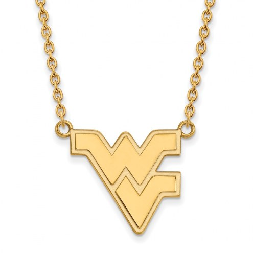 West Virginia Mountaineers NCAA Sterling Silver Gold Plated Large Pendant Necklace