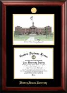 Western Illinois Leathernecks Gold Embossed Diploma Frame with Campus Images Lithograph