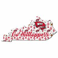 """Western Kentucky Hilltoppers 12"""" Floral State Sign"""
