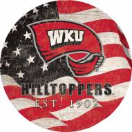 """Western Kentucky Hilltoppers 12"""" Team Color Flag Circle Sign"""