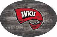 """Western Kentucky Hilltoppers 46"""" Distressed Wood Oval Sign"""