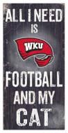 "Western Kentucky Hilltoppers 6"" x 12"" Football & My Cat Sign"