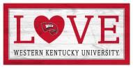 "Western Kentucky Hilltoppers 6"" x 12"" Love Sign"